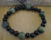 Mens Bracelet with Green Agate and Black Onyx Gemstone Beads
