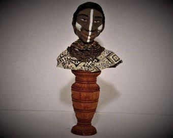 OOAK Art Bust, African Warrior, Handmade Art Doll, by Sherry Harrison