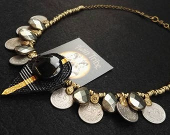 Tribal necklace with hand-decorated talhakimt and drops of pyrite