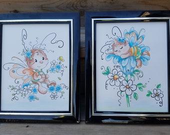 "Baby Bug Fairies Watercolour Wall Art,8""x10"",Original Painting, Baby Room Wall Decor, Blue/Orange/Green, Nursery Art Set,Blue Nursery Decor"