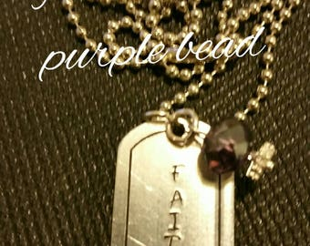 Metal stamped tag ...faith...with purple bead