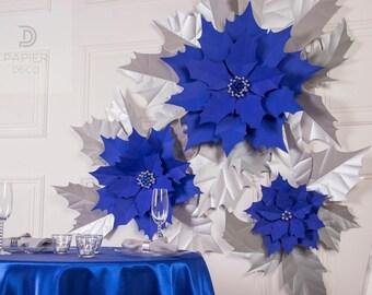 Christmas Flower Decoration-Poinsettia Christmas-Blue Silver Poinsettia-Xmas Living Decor-Christmas Flower Arrangements-Xmas Wall Decor