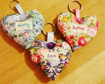 Personalised Heart Keyring, handmade, gifts