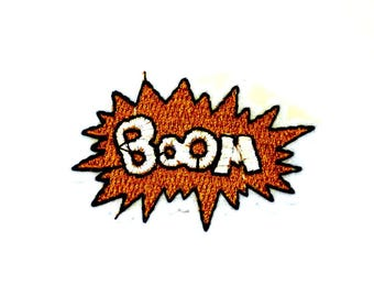 BOOM on a Brown Explosion Sew on or Iron on Patch - H527