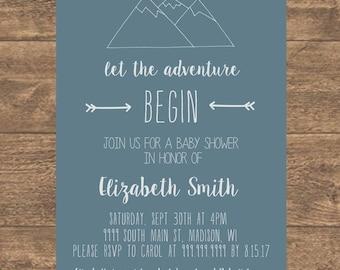Let the Adventure Begin Baby Shower Invitation, Mountain Baby Shower Invite, Adventure Baby Shower Invitation, Adventure Begins, PRINTABLE