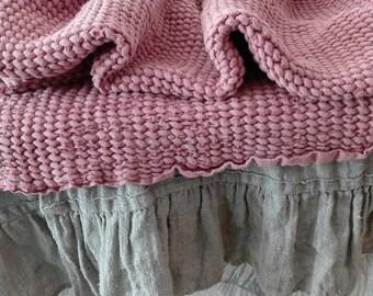 Linen throw blanket.Linen sofa cover.Linen bed cover.Waffle textured linen.heavy weight linen/linen throw pink
