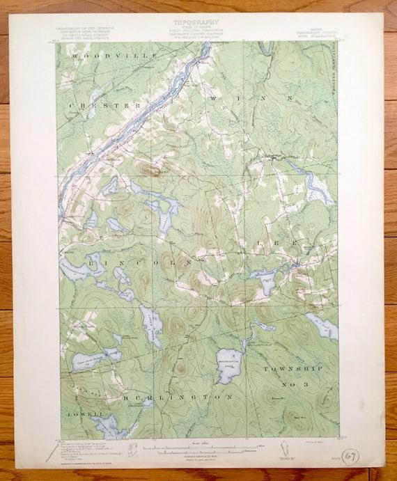 Antique Winn Maine US Geological Survey Topographic Map - 1920 us map