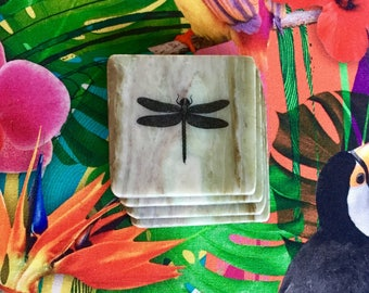 Natural Stone Coasters - Dragonfly | Set of 4