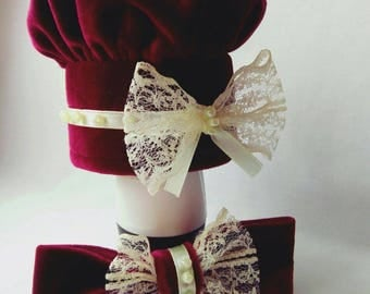 Hat for cat - Red velour hat for pet with bow tie -  hat for cat - cat for dog - luxury pet hat - lace hat for cat