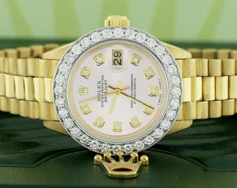 Rolex President Datejust Ladies 18K Gold 26mm w/Ballet Shoes Pink Diamond Dial & 1.35Ct Bezel