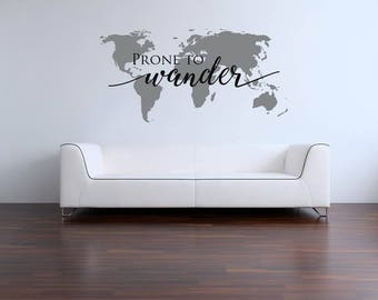 Prone to Wander with World Map Vinyl Wall Decal Come Thou Fount Hymn Lyrics Wall Decal