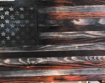 Hand Torched and Stained Wood American Flag