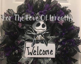 Skeleton Jack nightmare before christmas wreath
