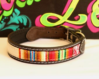 Leather Collar with ethnic loom lining, small pets, boho collar, dog collar,puppy,small dog, collar cat