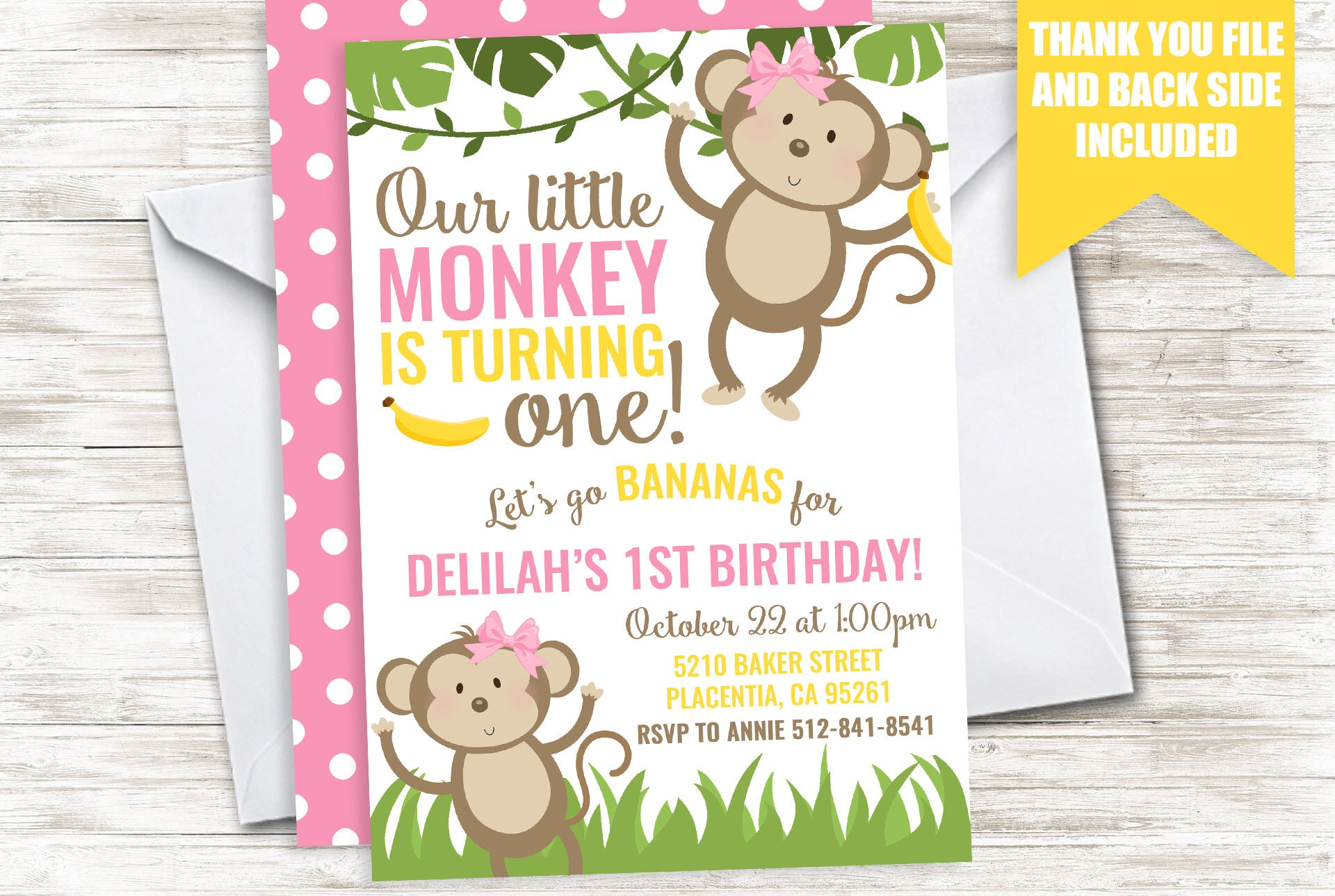 Monkey Invite Girl Pink First 1st Invitation Digital Bananas