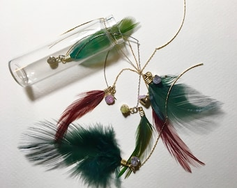 feather and stone earring