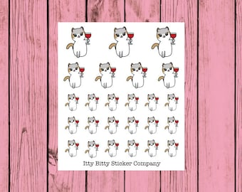 Mauly loves her Wine - Hand Drawn IttyBitty Kitty  Collection - Planner Stickers