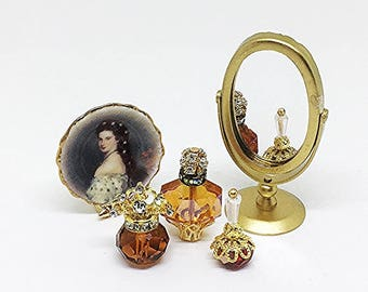 Miniature Perfume Bottle / Miniature Perfume Bottles /  Vanity Set / Crystal Perfume Bottles  / OOAK / Perfume Bottle Set