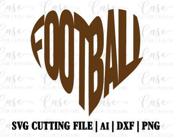 Football Heart SVG Cutting File, AI, Dxg and PNG | Instant Download | Cricut and Silhouette | Football Mom | Football Love | Heart