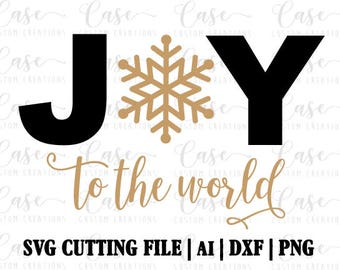 Joy to the World SVG Cutting File, ai, dxf and png   Instant Download   Cricut and Silhouette   Snowflake   Christmas   Holiday   Music