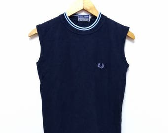 Hot Sale!!! Rare Vintage 90s FRED PERRY Tipped Tank Top Shirt Hipster Casual Mod Extra Small (10) Size