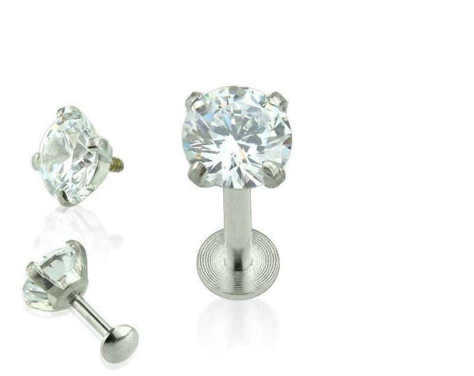 316L Surgical Steel Internally Threaded CZ Prong Set Labret/Monroe w/ Round Dome Shape Bottom