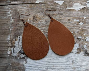 Large Leather Earrings/Leather Earrings/Simple Jewelry/Classic Leather Earrings/Gift For Her