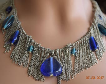 Vintage Silver Beads and Metal Fringe Necklace