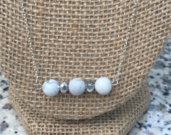 White/Silver Beaded Dainty Chain Necklace