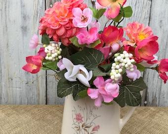 Pretty Pink Dahlia Floral Arrangement in Vintage Pitcher, Summer Centerpiece, Floral Home Decor, Wedding Centerpiece, Mother's Day