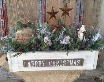 Primitive Wood Box Merry Christmas Arrangement, Winter Arrangement, Holiday Arrangement, Santa Arrangement, Farmhouse Christmas, FAAP