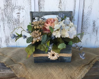A Rain Blue Wood Box with Flowers in Tans, Cream, Pink Blush, and Gray, Wedding Centerpiece, Farmhouse Floral Box with Flowers, Shabby Chic
