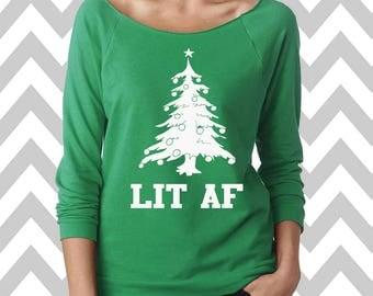 Lit AF Funny Christmas Sweatshirt  Women's Ugly Christmas Sweater Oversized 3/4 Sleeve Sweatshirt Ginger Bread Man Sweater Slouchy
