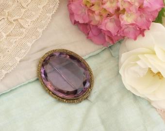 Antique Victorian amethyst glass brooch