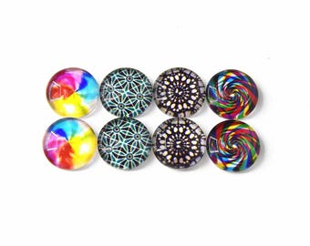 """8 cabochons round glass mixte12mm """"10"""""""