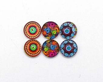 """6 cabochons round glass mixte12mm series 1 """"7"""""""