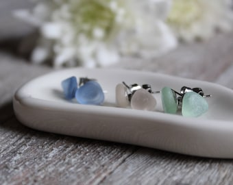 Limited Edition ~ Spring Sea Glass Stud Earrings in Cornflower Blue, Pink and Mint | downbytheseaglass