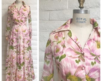 Vintage 60s or 70's pink floral maxi dress/ long sleeve / small