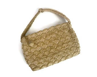 Beautiful Vintage 60s gold woven evening purse.