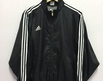 SALE 25% Vintage 90s Adidas Jacket Windbreaker Striped Hip Hop Rap Size L