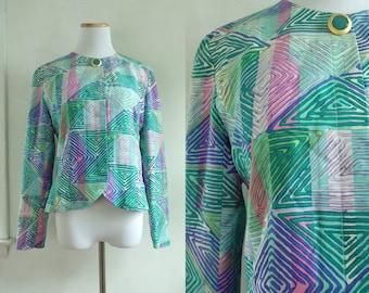 80s silk southwestern blazer abstract geometric print blazer anne crimins designer jacket 1980s blazer jacket womens small/medium