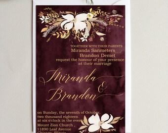 Burgundy Wedding Invitations Suite Wedding  Invitation Set Personalized  Floral Wedding Invitation  Wedding Invitation set