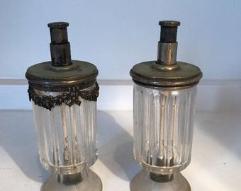"""2 Glass and Brass 5"""" Tall or Antique Salt and Pepper Shakers"""