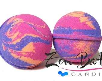 Tropical Sunset Bath Bomb | Bath Bombs | Bath Fizz | Vegan | Handmade | Blueberry Pomegranate Coconut