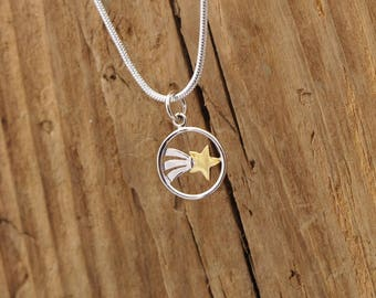 Sterling Silver Tiny Shooting Star Charm Necklace Graduation Gift Boxed