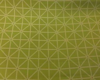 Beige Geometric Design On Woven Moss Green Mid-Weight Polyester Blend