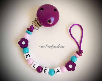 Personalized pacifier clip wooden flower beads