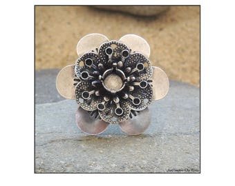 Flower Ring base, antique silver plated brass 39 mm
