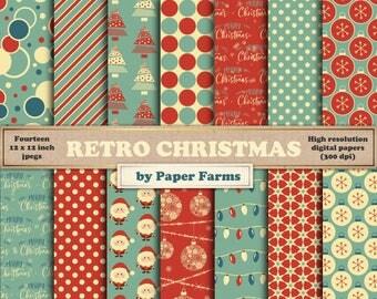 Christmas digital paper, Christmas digital scrapbook paper, Christmas retro digital paper, Vintage Christmas digital paper, Teal, Snowflakes