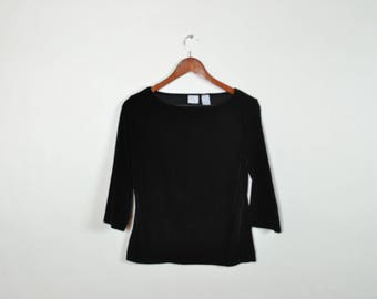 Vintage Black Velvet 3/4 Sleeve Top